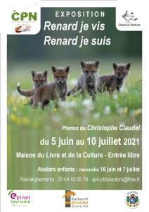 affiche exposition renard juin 2021 CPN les p'tits castors Charmes