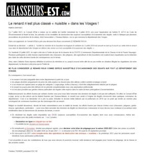 Le renard n'est plus classé nuisible dans les Vosges - Chasseurs de l'Est 29-07-2021