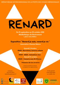 Affiche Exposition Renard à la médiathèque de Remiremont du 21-09 au 23-10-2021