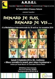 Affiche Renard Exposition-Conférence Vagney 2014