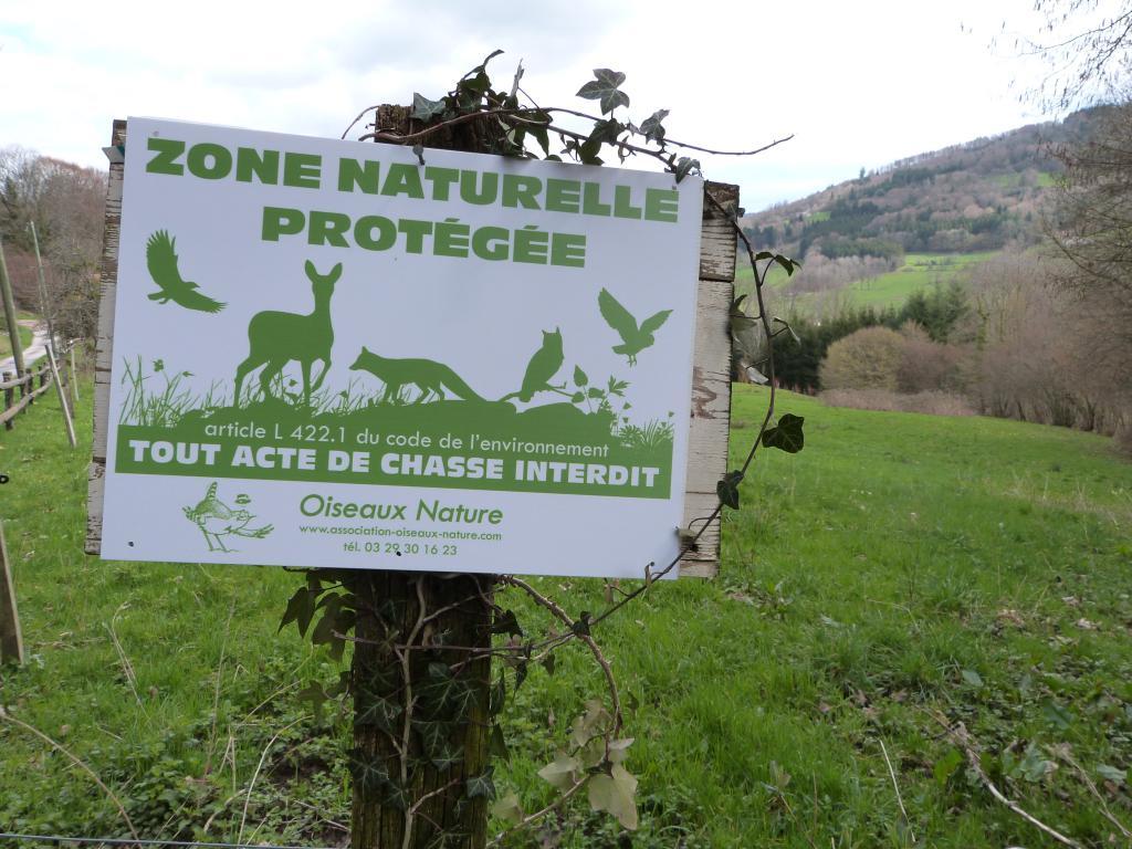 Panneau Zone naturelle protégée Refuge sans chasse - Oiseaux Nature