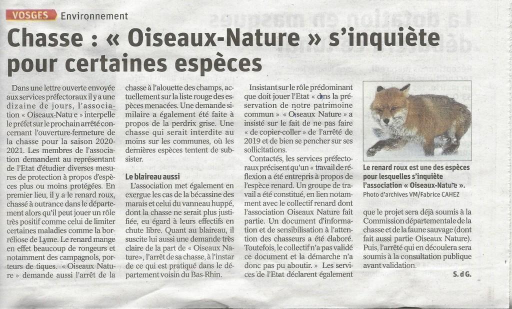 Chasse Oiseaux Nature s'inquiète pour certaines espèces - Vosges Matin 01-05-2020