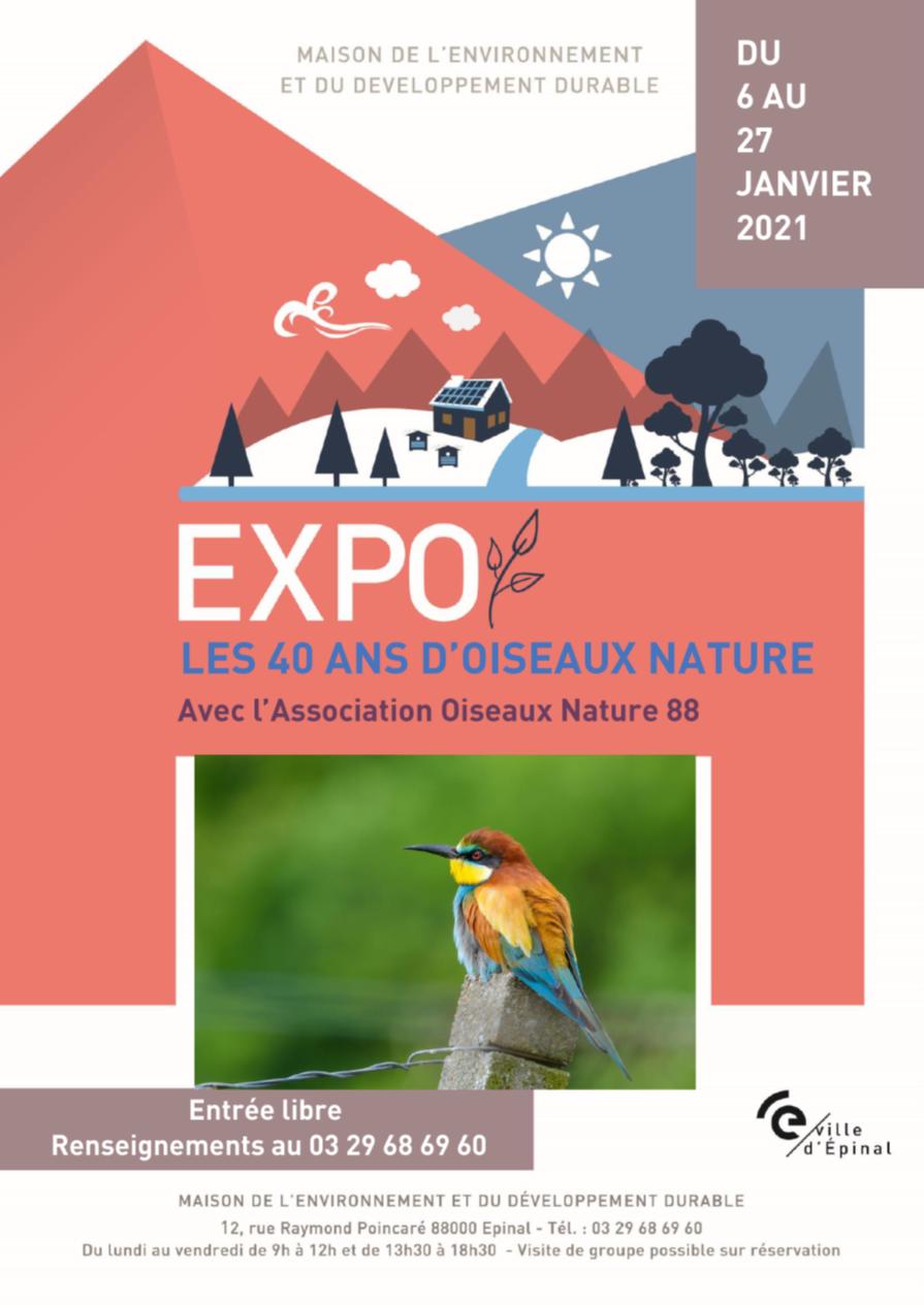 Affiche Maison de l'environnement Expo photos nature 40 ans janvier 2021